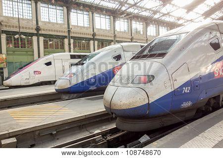 Paris, France - April 14, 2015: Tgv High Speed French Train In Gare De Lyon Station On April 14, 20