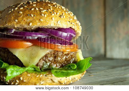 Beef Burger Close Up