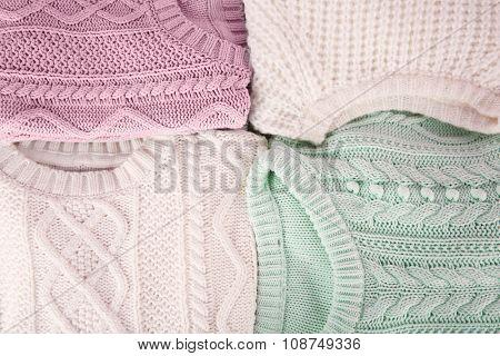 Hand made warm clothes closeup