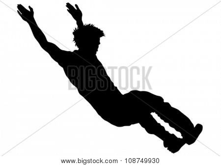 Young man in a jump on white background