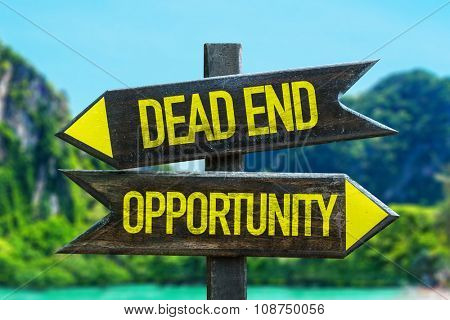 Dead End - Opportunity signpost in a beach background