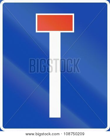 Norwegian Information Road Sign - Dead End