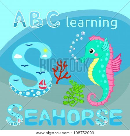S Is For Seahorse Funny sea animal alphabet S is for Seahorse Cute cartoon seahorse, red coral branc