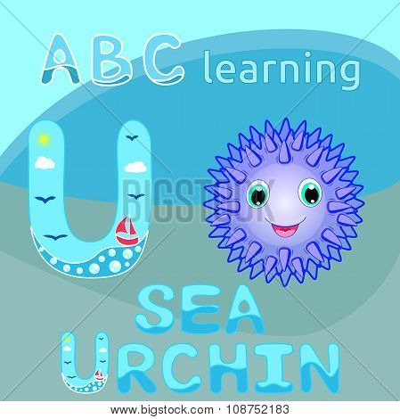 U Is For Urchin ABC animal letter U is for Urchin Cute sea urchin vector Smiling spiky animal cartoo