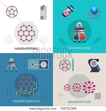 Nanotechnology 4 flat icons square banner
