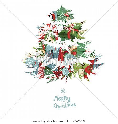 Christmas tree made of gift boxes. Poster for festive design, announcements, postcards, etc.