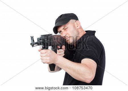 Man Pointing Ak-47 Machine Gun Isolated On White
