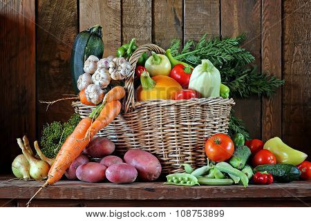 Fresh Vegetables In A Basket.