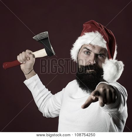 New Year Man With Axe