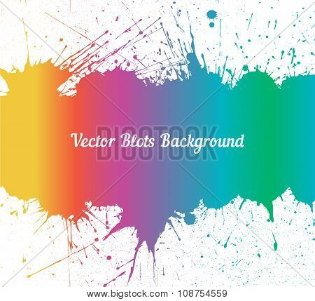 Vector spectrum ink splashes over white