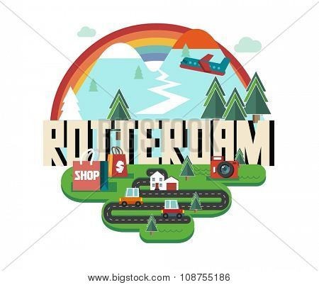 Rotterdam in Holland is Beautiful city to visit on holiday, vector cartoon illustration