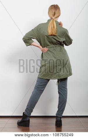 Woman In Dark Green Jacket. Autumn Fashion
