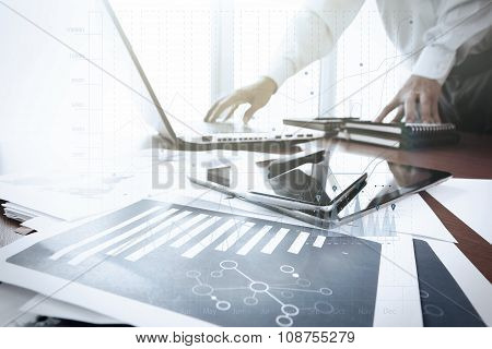 Business Documents On Office Table With Smart Phone And Digital Tablet And Graph Business Diagram An