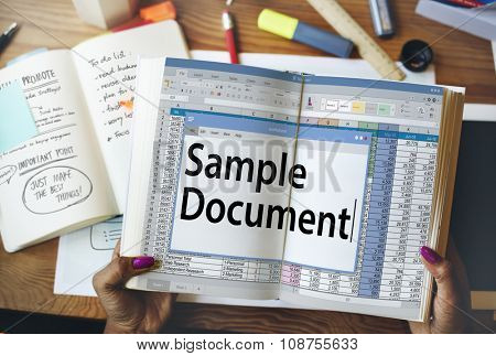 Spreadsheet Document Information Financial Startup Concept