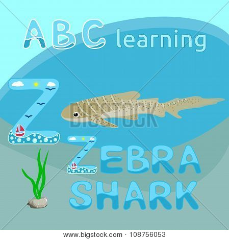 Z is for Zebra shark Letter Z uppercase font Tiger shark or Zebra shark vector Sea animal cartoon ch