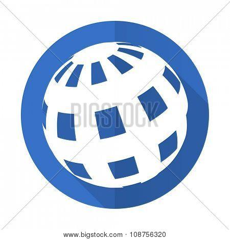 earth blue web flat design icon on white background