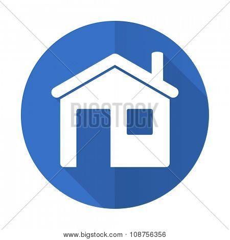 house blue web flat design icon on white background