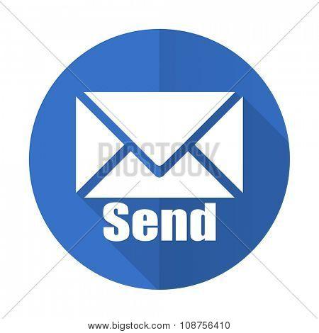 send blue web flat design icon on white background