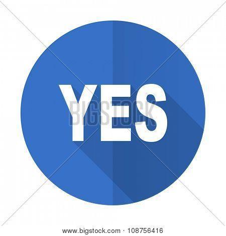 yes blue web flat design icon on white background