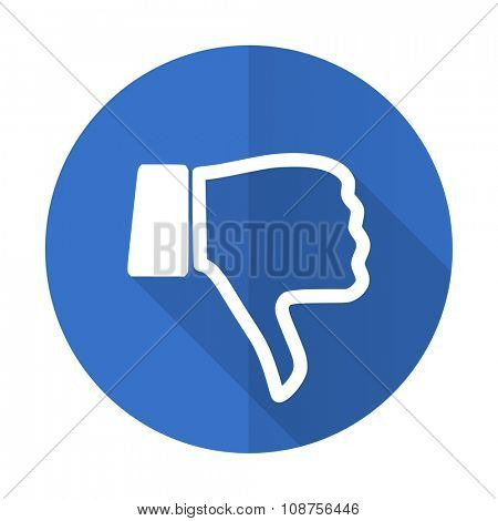 dislike blue web flat design icon on white background