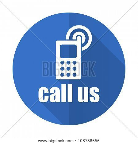 call us blue web flat design icon on white background