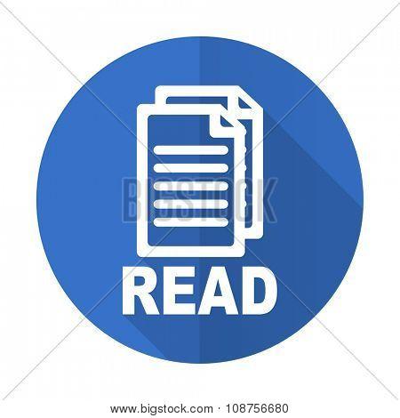 read blue web flat design icon on white background
