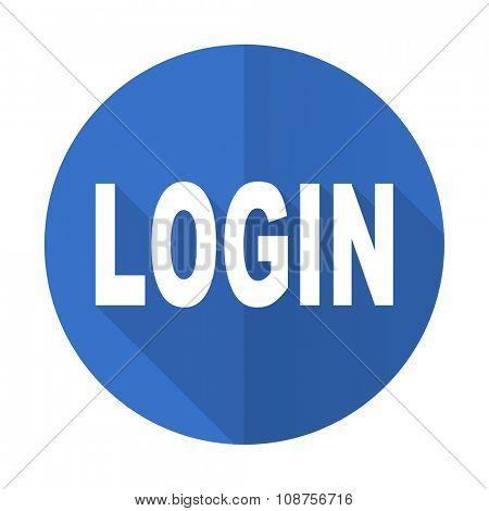 login blue web flat design icon on white background