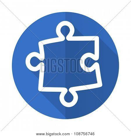 puzzle blue web flat design icon on white background