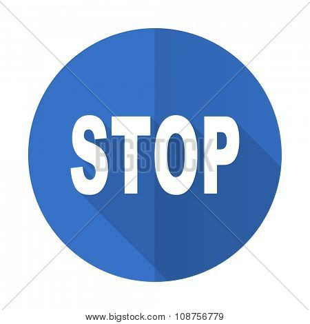 stop blue web flat design icon on white background