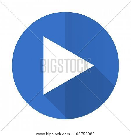 play blue web flat design icon on white background