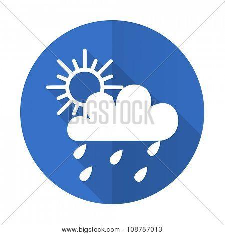 rain blue web flat design icon on white background