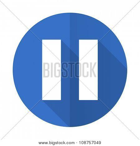 pause blue web flat design icon on white background