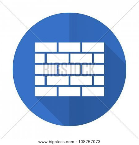 firewall blue web flat design icon on white background