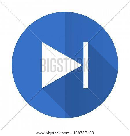 next blue web flat design icon on white background