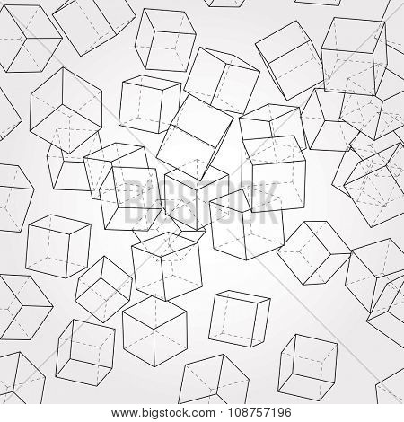 vector abstract composition with cubes
