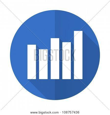 graph blue web flat design icon on white background