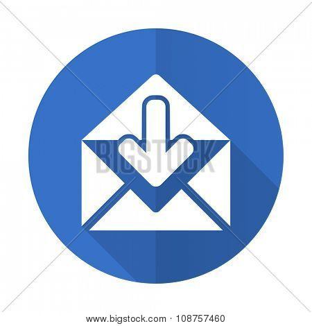 email blue web flat design icon on white background