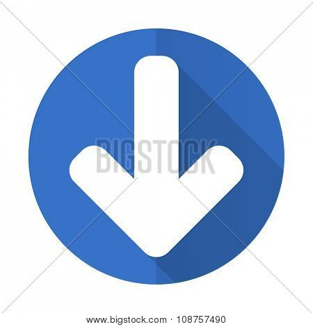 download arrow blue web flat design icon on white background