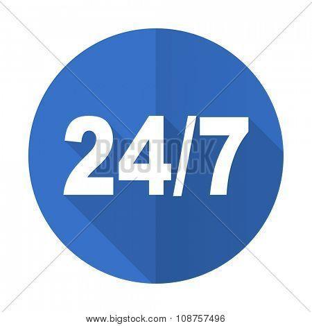 24/7 blue web flat design icon on white background