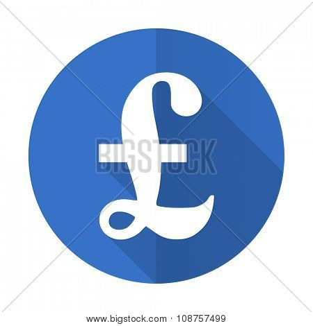 pound blue web flat design icon on white background