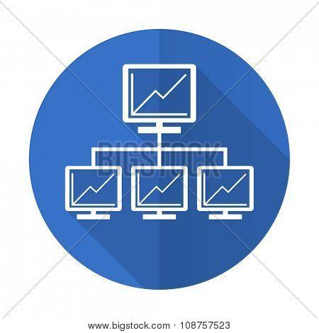 network blue web flat design icon on white background