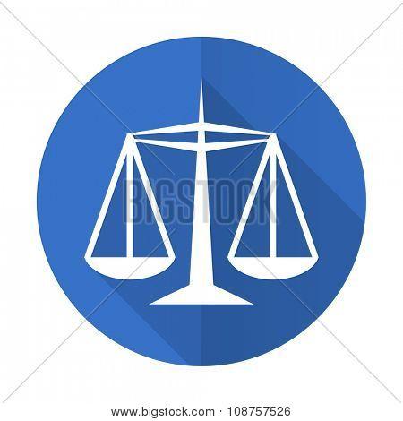 justice blue web flat design icon on white background