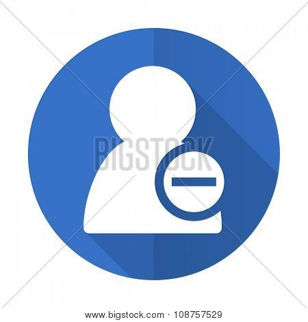 remove contact blue web flat design icon on white background