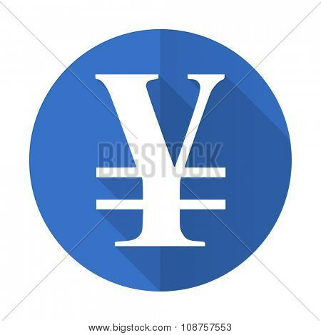 yen blue web flat design icon on white background