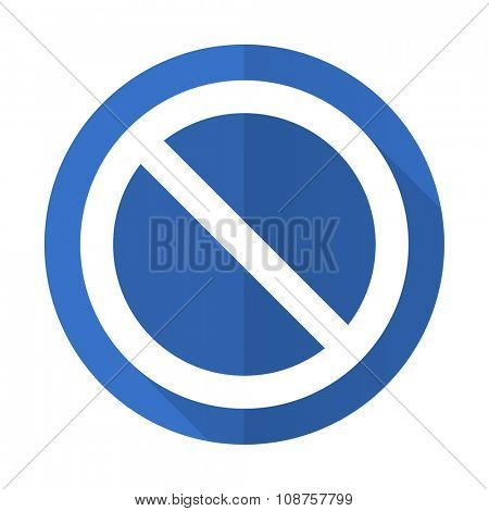 access denied blue web flat design icon on white background