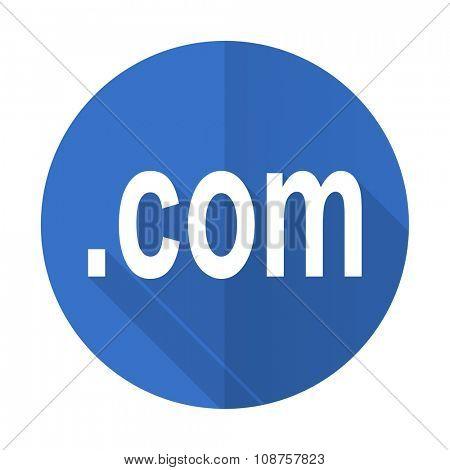 com blue web flat design icon on white background