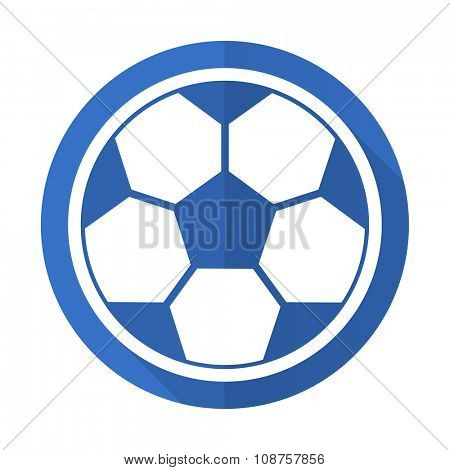 soccer blue web flat design icon on white background