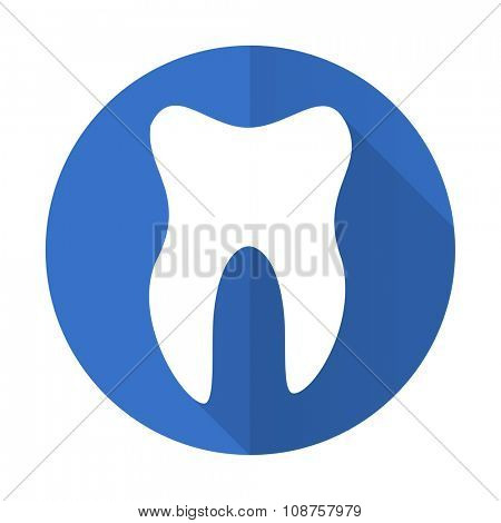 tooth blue web flat design icon on white background