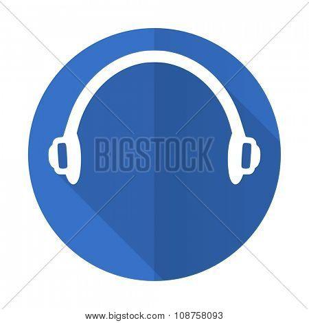 headphones blue web flat design icon on white background