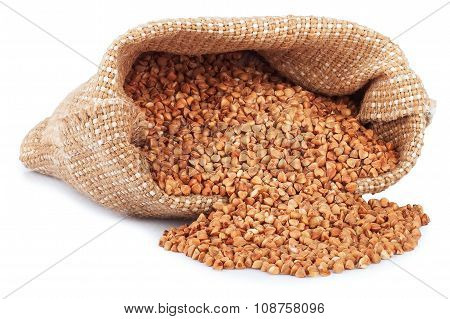 Buckwheat Are Scattered Out Of The Bag Isolate